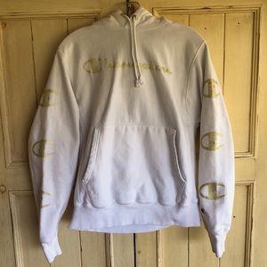 Champion White & Gold Long Sleeve Hoodie.  EUC.